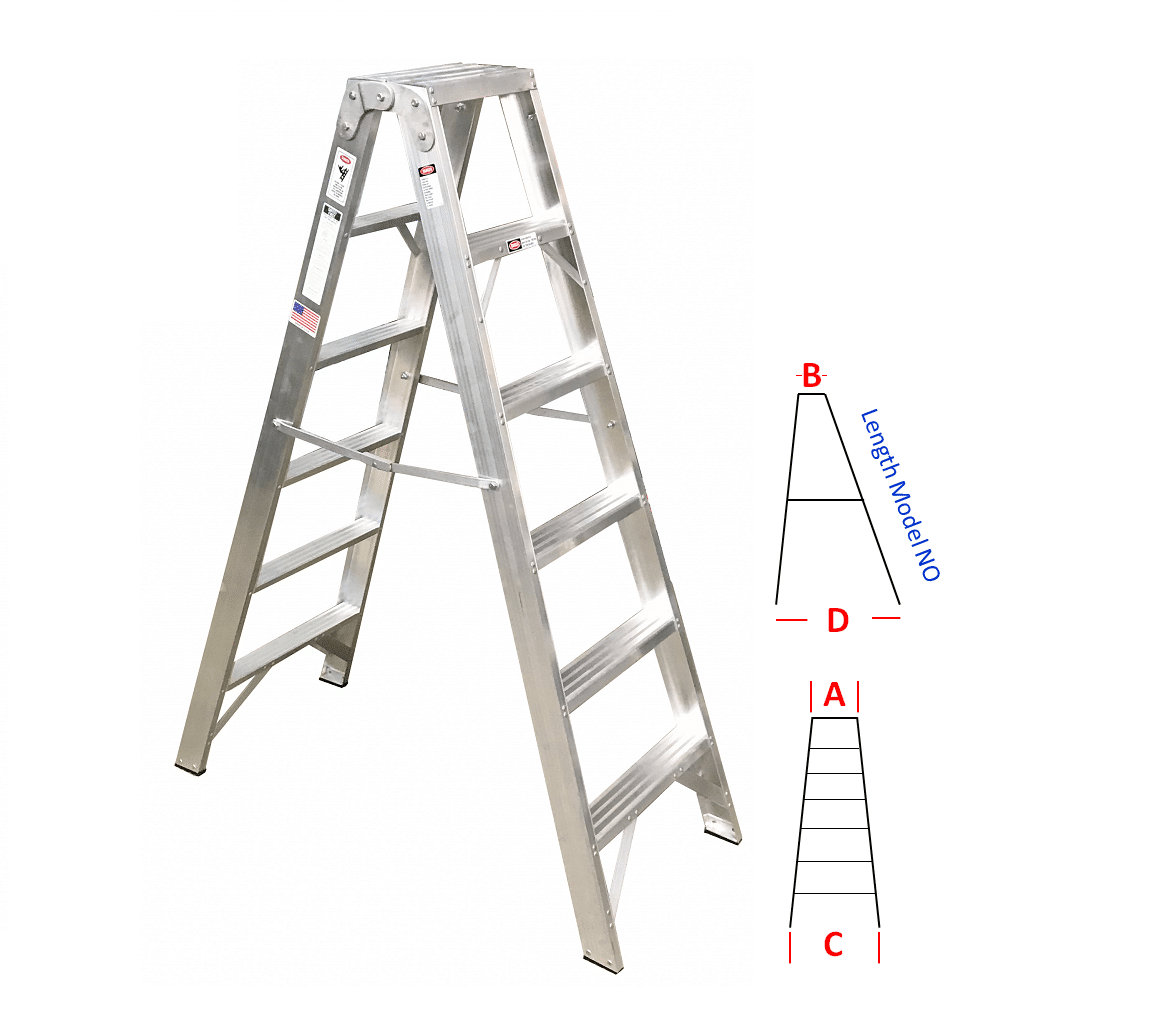 Double Sided Trestle Stepladders Metallic Ladder