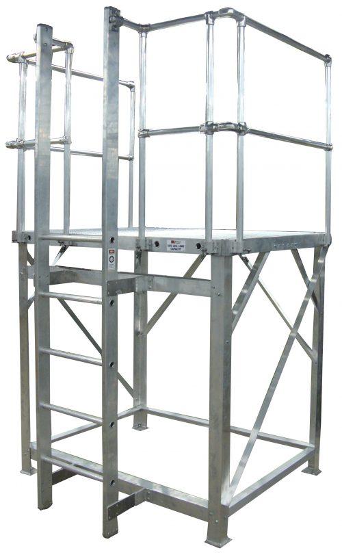 Stationary Work Platform with a walk thru ladder